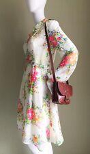 VINTAGE White Colourful Floral Peter Pan Collar MOD Dress - Vtg RETRO Floral -10