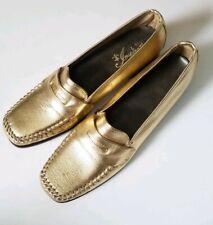 Gold Loafer Slip On Ladies Shoes Vintage Size 6 Nos With Wear golden gilded vtg