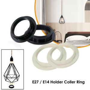 2 x Black or White Light Shade Collar Ring Adaptor E27 / E14 Lamp Bulb Holder