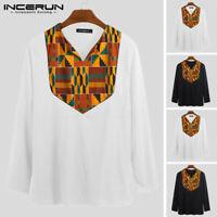 INCERUN Men's Vintage African Floral V Neck T Shirt Long Sleeve Causal Blouse UK