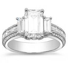 2.70 Ct Emerald Cut  Baguette & Round Diamond Engagement Ring G,VVS1 EGL 18K