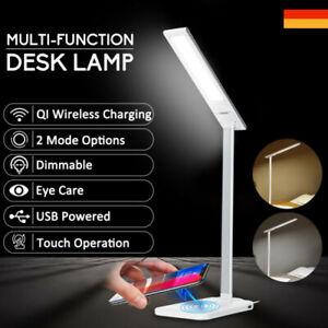 LED Tischlampe Dimmbar Lese-Lampe Nachttisch + 5V 5W Qi Wireless Phone Ladegerät
