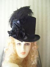 Black Steampunk Top Hat Civil War Halloween Victorian Hat Kentucky Derby Hat