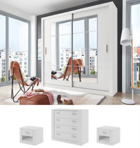 White matt CLEO 32 bedroom set 180cm with chest of drawers and bedside tables