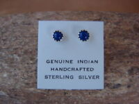 Native American Sterling Silver Lapis Dot Post Earrings! Navajo Indian