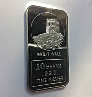The Great Wall Design. 10 grams .999 Fine Solid Silver Bullion Bar, NEW!