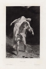 Intense 1800s Alexandre FALGUIERE Antique Etching CAIN & ABEL Framed SIGNED COA