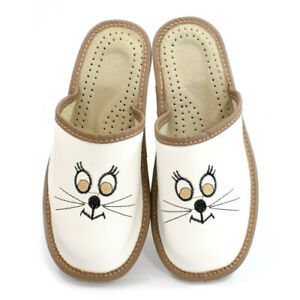 Womens Ladies Mule Slippers Sandals Natural Leather CAT LOVERS Kapcie ALL SIZES