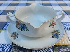 Ancienne sauciére porcelaine de Limoges déco florale, french antique pottery