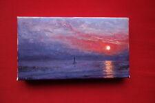 Superbe paysage, marine au soleil couchant, huile sur toile, signée