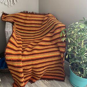 "Handmade Yellow/Orange/Brown AFGHAN Lap Blanket 56""x40"" BOHO B5 MCM"