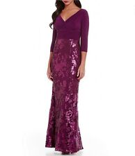 10 ADRIANNA PAPELL Mulberry Shirred Surplice Jersey Sequin Lace Sheath Gown NWT