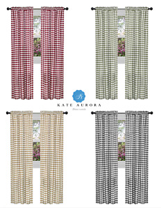 Country Farmhouse Basic Plaid Checkered Window Curtains - Assorted Sizes