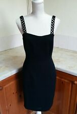 C22 Next size 10 fitted strappy little black dress with strap detail & back slit