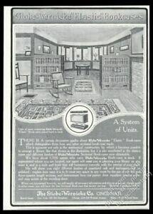 1907 Globe-Wernicke bookcase arts & crafts home art vintage print ad