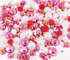 15g CHRISTMAS Flat Back AB Iridescent Pearl Mix Set Decoden UK SELLER