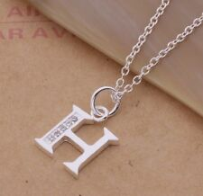 925 Sterling Silver LETTER H Austrian Crystal Pendant Charm Necklace Chain Gift
