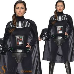 Ladies Darth Vader Costume Star Wars Fancy Dress Womens Sci Fi Adult Outfit