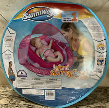 SwimWays Infant Spring Float Inflatable Swimming Pool Float with Canopy Pink