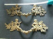Anciennes Grandes POIGNEES de MEUBLE en bronze doré décor anges angelots