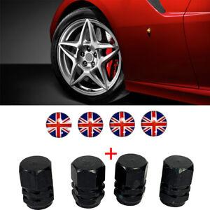 4x Black Aluminium alloy tire air valve stem wheel cap #UK