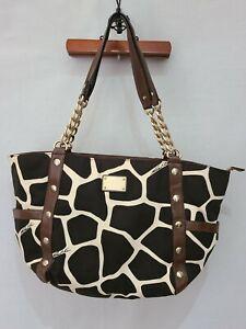 MICHAEL KORS Delancy Giraffe Print Stud Chain Strap Shoulder Tote Handbag (U1)