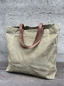 Madewell Transport Tote Bag Shoulder Purse Canvas Faded Olive Green Leather