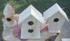 """3 Bird Houses Wooden And Not Yet Painted, Just 4- 5"""" Tall Decorative Or For Use"""