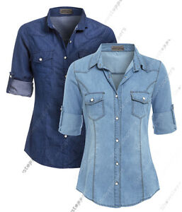 NEW Womens Denim Shirt Ladies Classic Fitted Shirts Size 8 10 12 14 Blue jean