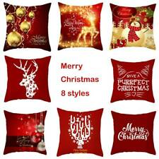 "18"" Merry Christmas Cushion Cover 3D Elk Pillow Case Sofa Throw Xmas Decor NEW"