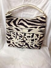 KATE SPADE HOBO PURSE SULLIVAN STREET BLAKELY ZEBRA SATCHEL CANVAS LEATHER