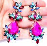 Chandelier Earrings Rhinestone Pink 3 in