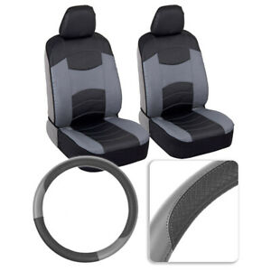 Two Tone PU Leather Seat Cover Set with Steering Wheel for Car Truck SUV - Gray