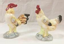 Vintage Rooster & Hen Figurine Set of 2 Hand Painted Porcelain 6""