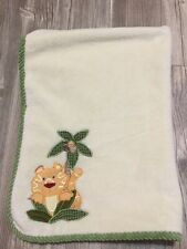 NoJo Plush Baby Security Blanket Cream Green Ribbed Edges Lion Cocoanut Tree GUC