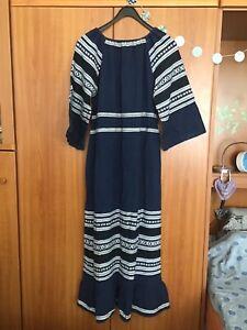 Kleid Baumwolle blau-weiß original Vintage 70er Hippie griechisch Gr.38/40