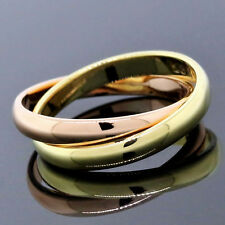 Cartier 18K Two Color Multi-Gold Rose Yellow Double Band Ring Size 4
