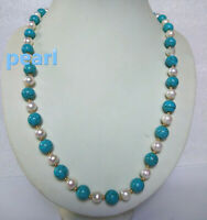 "turquoise 18"" AAA SOUTH SEA NATURAL White PEARL NECKLACE 14K GOLD CLASP"