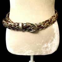 "Vintage Multi Colored Gold Silver Bronze  Braided Weave Belt 40"" Extra large"