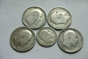 King Edward VII - F0ur One shilling coins  and One Sixpence.925 silver