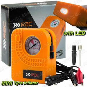 RAC 12v Car Motorcycle Motor Bike Compact Mini Tyre Air Compressor Inflator Pump