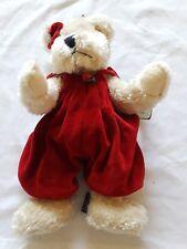"""1985/96 Boyds Bearwear Beige Girl Jointed 11"""" Bear w Red Velour Jumper & Bowtie"""