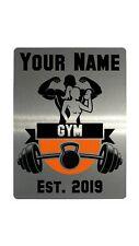 Personalised Gym Name, Est Year Metal Aluminium Plaque Sign Door Fitness 20x15cm