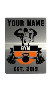 Personalised Gym Name Est Year Metal Aluminium Plaque Sign Door Fitness 4 Sizes