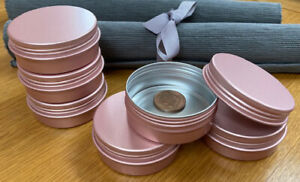 Round Metal Storage Tin with Screw Lid 60ml *Crafts *NEW* White Black Rose Gold
