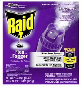 Raid Flea Killer plus Fogger 3-Pack (5oz each 15oz total) Water Based Formula