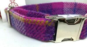 Pink & Purple check Harris Tweed dog CLIP collar & lead set or sold separately