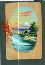 Hand Painted Japanese Wood Christmas Card.  Hand tinted photo tipped in 1940s