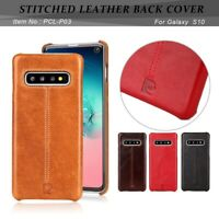 PIERRE CARDIN Stitched Genuine Leather PC Case Cover for Samsung Galaxy S10