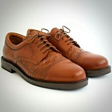 Johnston & Murphy Passport Brown Leather Shoes 10.5 Cap Toe 20-4612 Lace Up